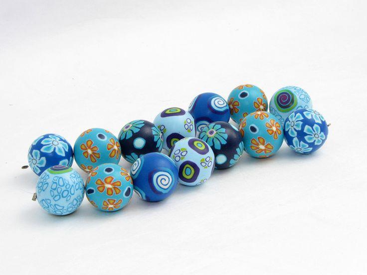 Polymer Clay Perlen - Polymer clay Künstlerperlen blaues Meer, Fimo - ein Designerstück von filigran-Design bei DaWanda