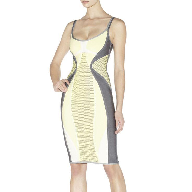 2015 neue frauen V-ausschnitt Bandage Kleid Bodycon Kleid Cocktail Party Kleid Gelb HL1056 # XS S M L //Price: $US $62.99 & FREE Shipping //     #clknetwork