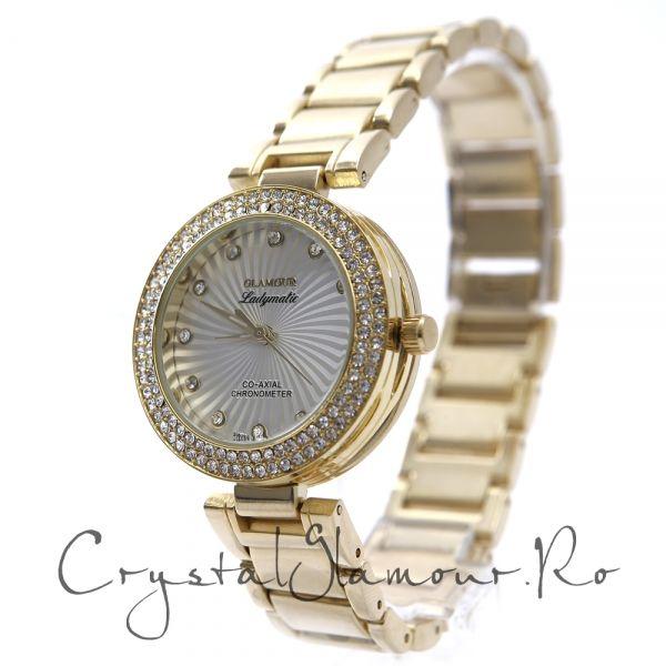 Ceas dama Glamour Ladymatic Gold cu cristale Swarovski