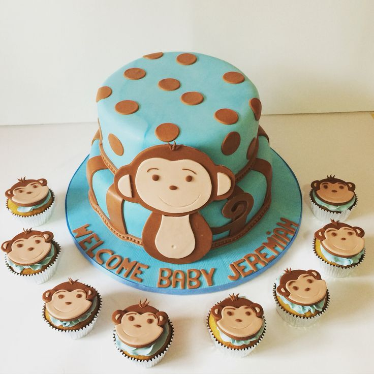 88 best images about baby shower cakes on pinterest a button balloon cupcakes and button cake - Monkey baby shower cakes for boys ...