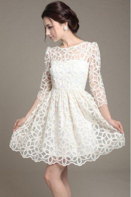 Vestido curto de renda branco: