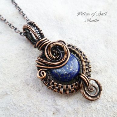 Small blue Lapis Lazuli copper woven wire wrapped pendant necklace
