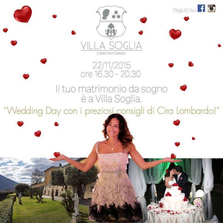 Il 22 novembre 2015 dalle ore 16.30 alle 20.30 si terrà l'attesissimo Wedding Day a Villa Soglia, un pomeriggio interamente dedicato ai futuri sposi.