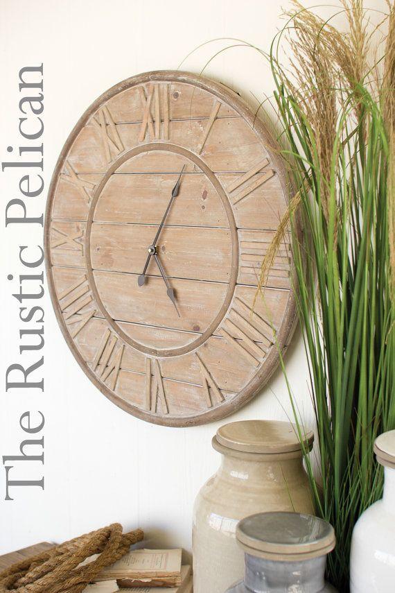 Orologio da parete legna rigenerata  grande di RusticPelican
