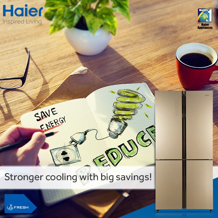 #Haier's 4 door #refrigerator with full DC inverter #technology offers 50% savings on electricity. Additionally it also comes with other added benefits like ample space, separate fruit box and fuzzy logic.