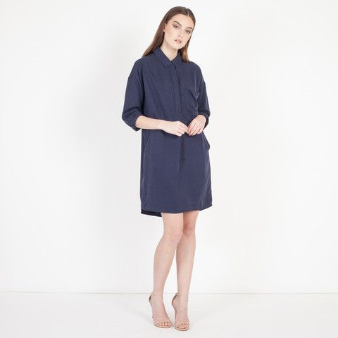 Modern Citizen | Modern Citizen  |  Ainsley Button Down Tencel Tunic (Navy) - 1 $92