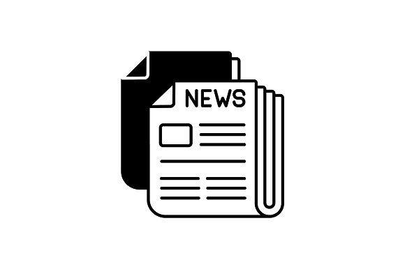Newspaper Black Linear Icon Icon Postal Service Logo Newspaper