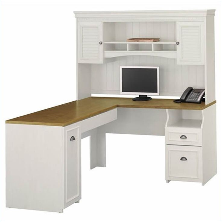 """Bush Fairview 60"""" L-Shape Computer Desk with Hutch in Antique White - WC53230K-PKG1"""
