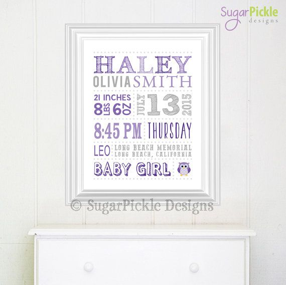 25 unique new parent gifts ideas on pinterest room for baby baby stats art nursery subway art girl baby birth stats birth stats wall negle Image collections