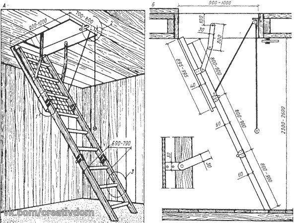 сдвижная лестница на чердак своими руками