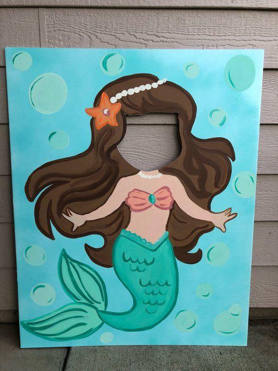 Meerjungfrau Party – Meerjungfrau Geburtstag – Meerjungfrau Ausschnitt – Meerjungfrau Foto Stand In – Meerjungfrau Gesicht in der Hole – Meerjungfrau Hintergrund – Meerjungfrau Dekorationen