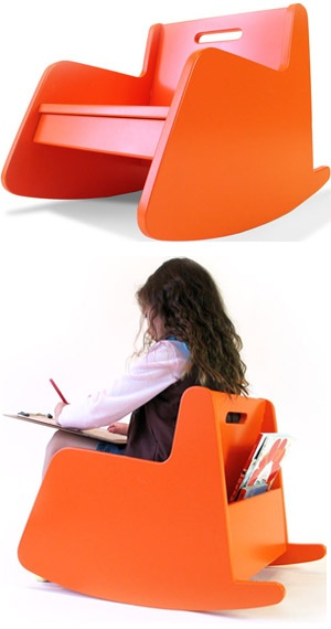 Loving the Hiya Rocker for kids - beautiful design with a book bin and painted with non-toxic paint!