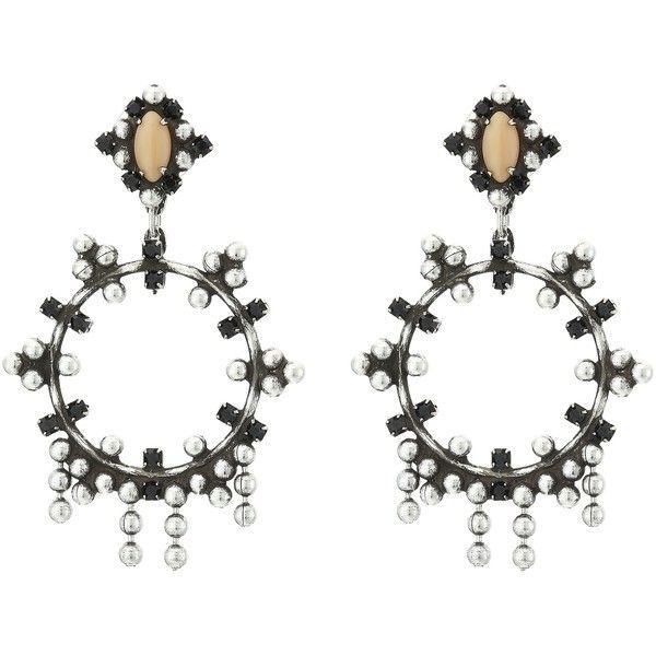 DANNIJO VALENTIA Earrings (Ox Silver/Black/Nude) Earring ($297) ❤ liked on Polyvore featuring jewelry, earrings, silver, post earrings, oxidized silver earrings, silver star jewelry, silver star earrings and silver oxidized jewellery