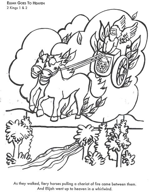 learn bible stories with elijah goes to heaven bible coloring page - Elijah Bible Story Coloring Pages