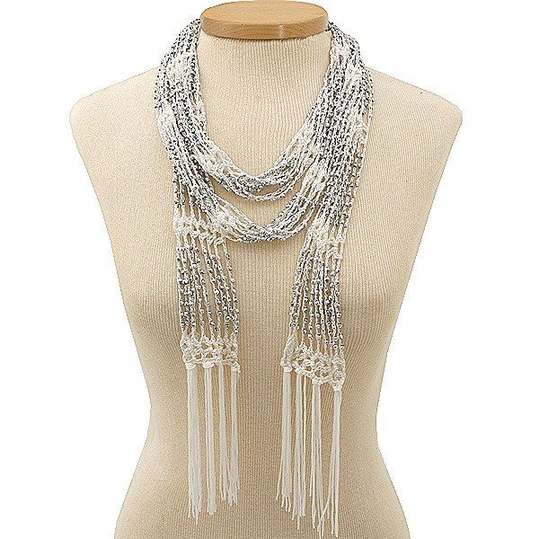 free crochet beaded scarf pattern | Beaded Ivory Crochet Skinny Scarf/ Necklace