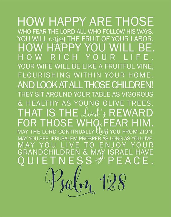 Psalm 128 free printable. Great for your home decor, nursery, bathroom or other room in your home.