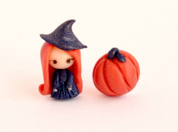 Witch and pumpkin cute stud earrings. by CandyDesignCrea on Etsy, €8.00