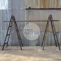 Vintage industrial ladder arbour ..just add flowers.  #industrial #vintageladder #weddinghire www.formoverfunction.com.au
