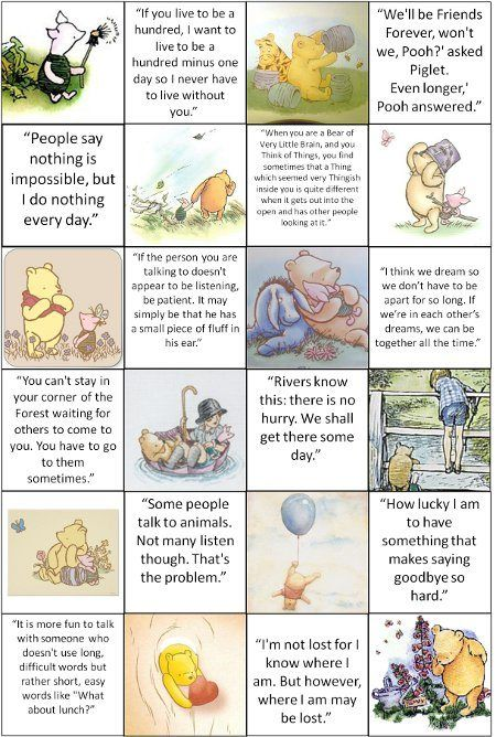 Various quotes from The Many Adventures of Winnie the Pooh.  Great for #scrapbooking or framing and hanging in a #nursery or child's playroom.