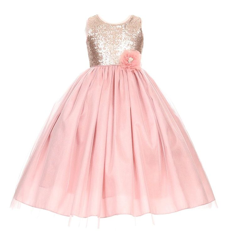 896235d1e5 Amazon.com  Big Girls Dusty Rose Corsage Sequin Shiny Tulle Junior  Bridesmaid Dress 8