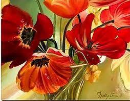 Resultado de imagen para pinturas de floreros con flores rojas y blancas