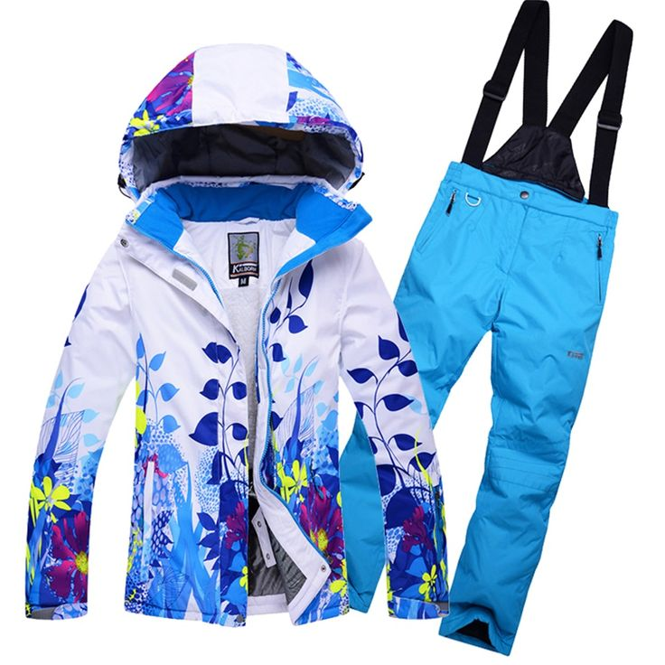 Mens snowboard suit Fleeced Hooded Ski Jackets + Bib Snowpants Set Man Winter Sports Snow Wear Clothes Male Thermal Breathable #Affiliate