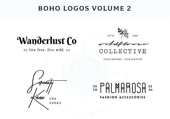 Boho Logo Templates Vol. 2 by Wild Side Design Co. on @creativemarket