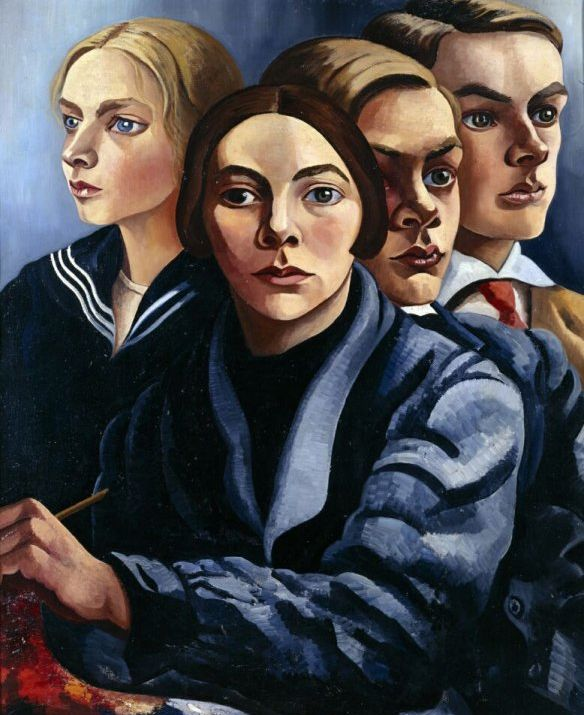 Charley Toorop (Dutch 1891-1955), Zelfportret met drie kinderen (Self-Portrait with Three Children), oil/canvas, 1929. Toorop was 38 when she painted this work of her three children. From left to right, is her daughter Annie Charlie Toorop (13), Charley herself with paintbrush and palette in hand, son John Fernhout (16) and eldest son Edgar Fernhout (17). Collection Groninger Museum, Netherlands.