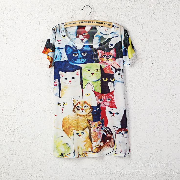 >> Click to Buy << New Fashion 2016 Summer O Neck Short Sleeve Funny Print Many Cat T Shirt Women Casual Loose Harajuku Rack And Roll T-Shirt #Affiliate