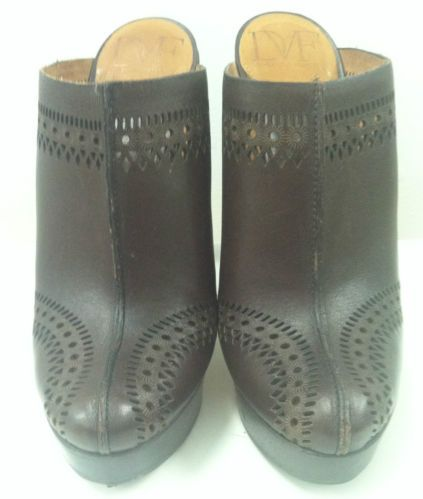 DVF Diane Von Furstenberg Brown Lasercut Leather heeled Clogs Size 7 | eBay
