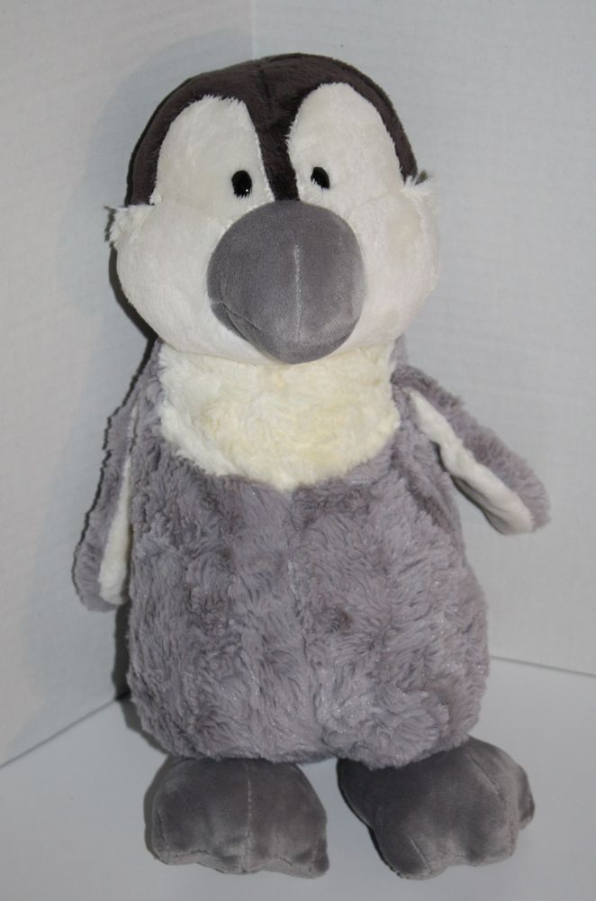 """Cute NICI Penguin about 15"""" shades of Gray and Off White Winter Ice Guy Soft Toy Plush Stuffed Animal Germany #NICI"""