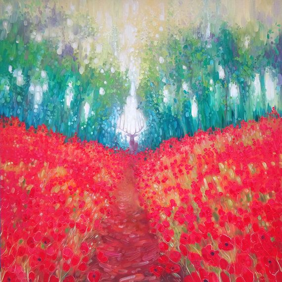 Print on canvas Hart of Summer landscape with poppies and