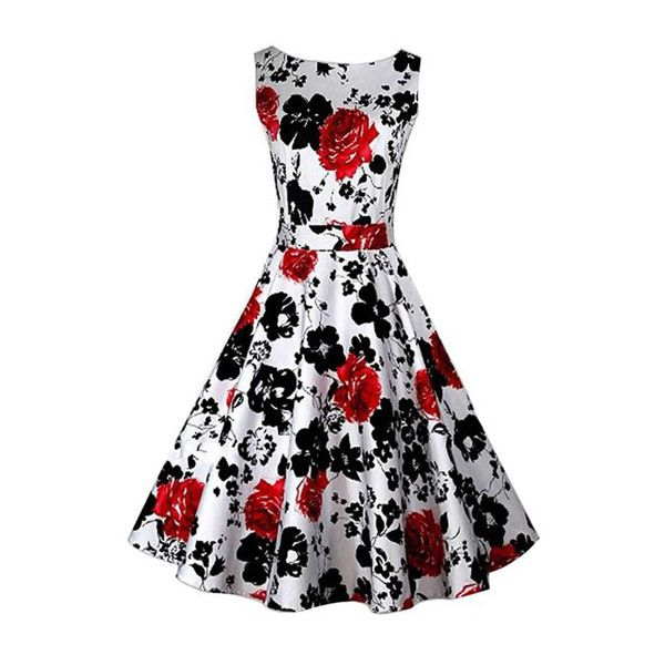 2112ad9fcd59 Rotita Vintage Black and Red Flower Print Dress ($21) ❤ liked on Polyvore  featuring dresses, white, midi dress, white sleeve dress, sleevel…