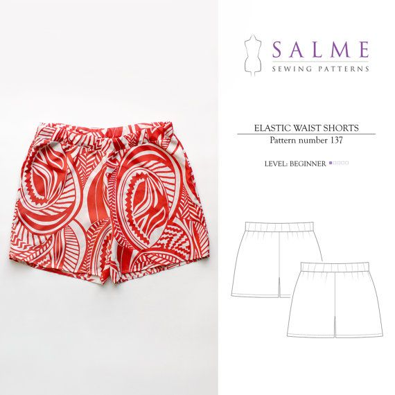 PDF Sewing pattern  Elastic waist shorts by Salmepatterns on Etsy, $6.00