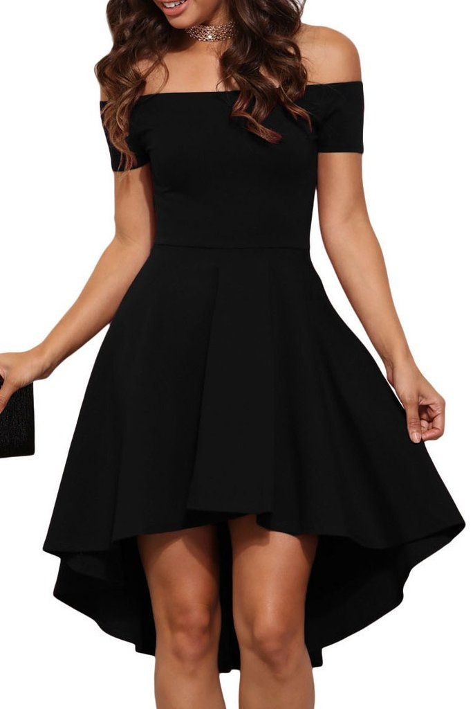 Black Off Shoulder Cocktail Party Skater Dress In 2018 Dresses Pinterest Dresses Skater Dress And Prom Dresses