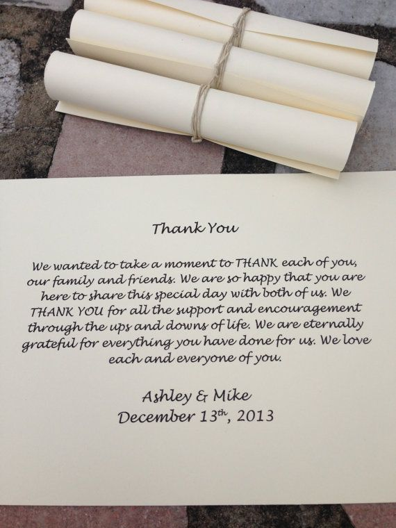 Cream Thank You Scrolls Wedding Favor Set By Krystlesweddings