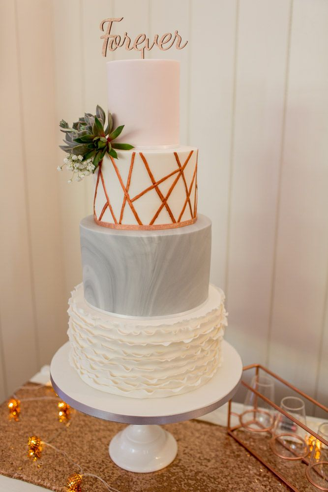 Elegant Wedding Cake With Grey Marble Effect & Geometric Rose Gold Icing | Rebecca Roundhill Photography