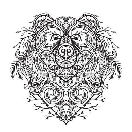 Stáhnout - Medvěd s abstraktní květinové ornamenty. Tetování. Retro banner, karta, šrot rezervace, tričko, tašku, pohlednice, plakát. Vysoce detailní vinobraní ručně kreslenou vektorové ilustrace — Stocková ilustrace #114702978