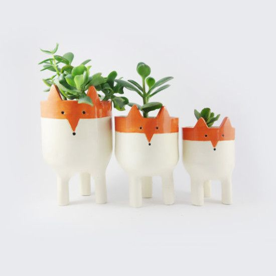 A cute family of cute fox planter by Minky Moo