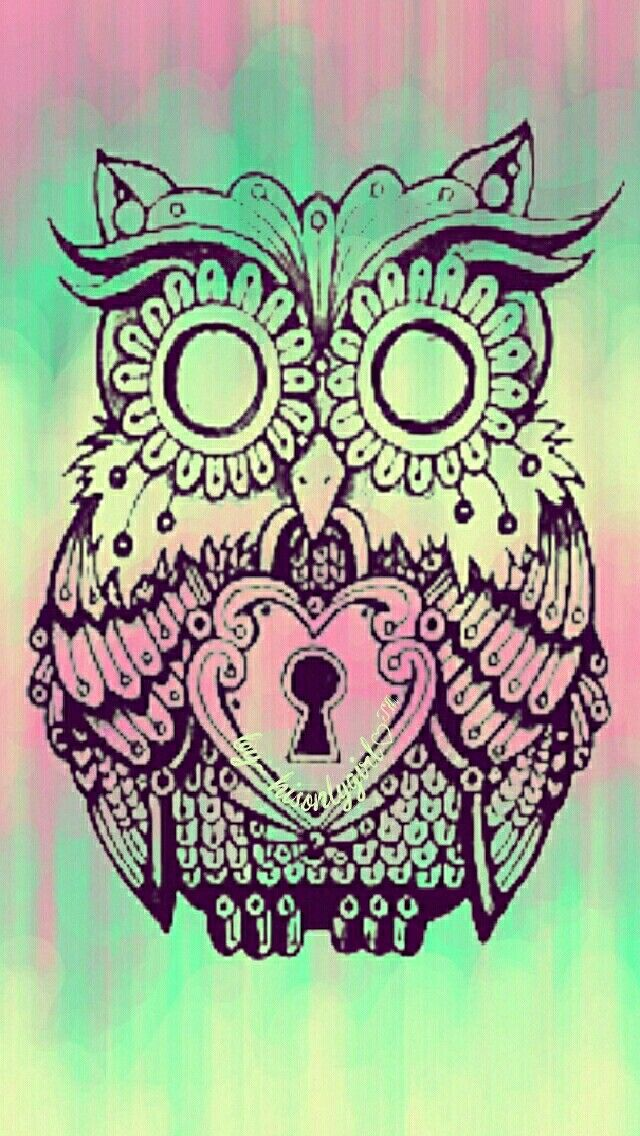 Locked owl iPhone/Android wallpaper I created for the app CocoPPa.