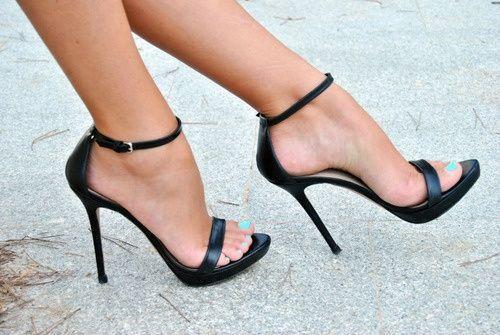 Saint Laurent Patent Ankle-Wrap Sandal, Black