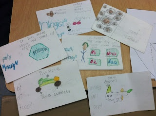 Root word flash cards made by the students.  They have the root, definition, and a picture they draw of the definition.