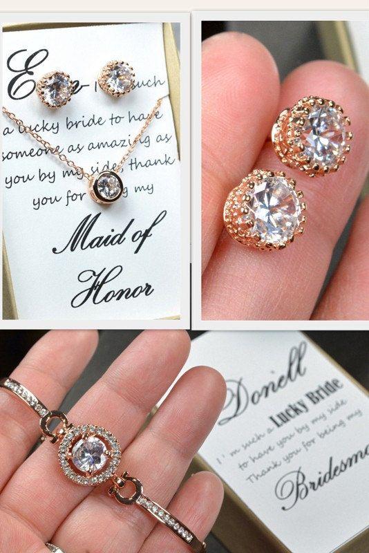 Rose Gold Bridal bracelet earrings necklace SET,Wedding Bridal Jewelry,rose gold jewelry,bridesmaid bracelet,bridesmaid gift,blush pink