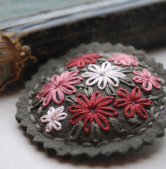 Hand Embroidered Wool Felt Brooch Pin