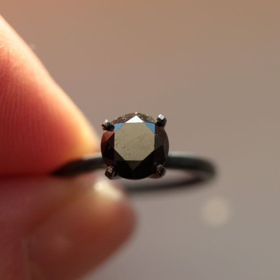 Custom 1.5 CTW Plus Black Diamond Engagement Ring in Oxidized Sterling Made to Order in Your Size