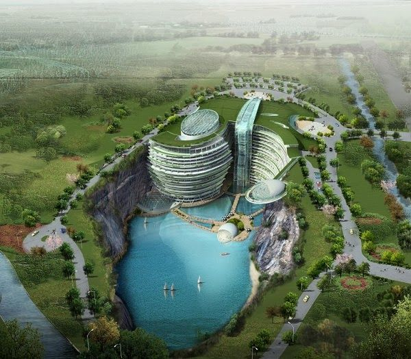 This is Shimao Intercontinental Hotel.The pit is situated in the Songjiang District of Shanghai at the base of Tianmashan Mountain..It's expected it will be open by the end of the year or in the early 2015.