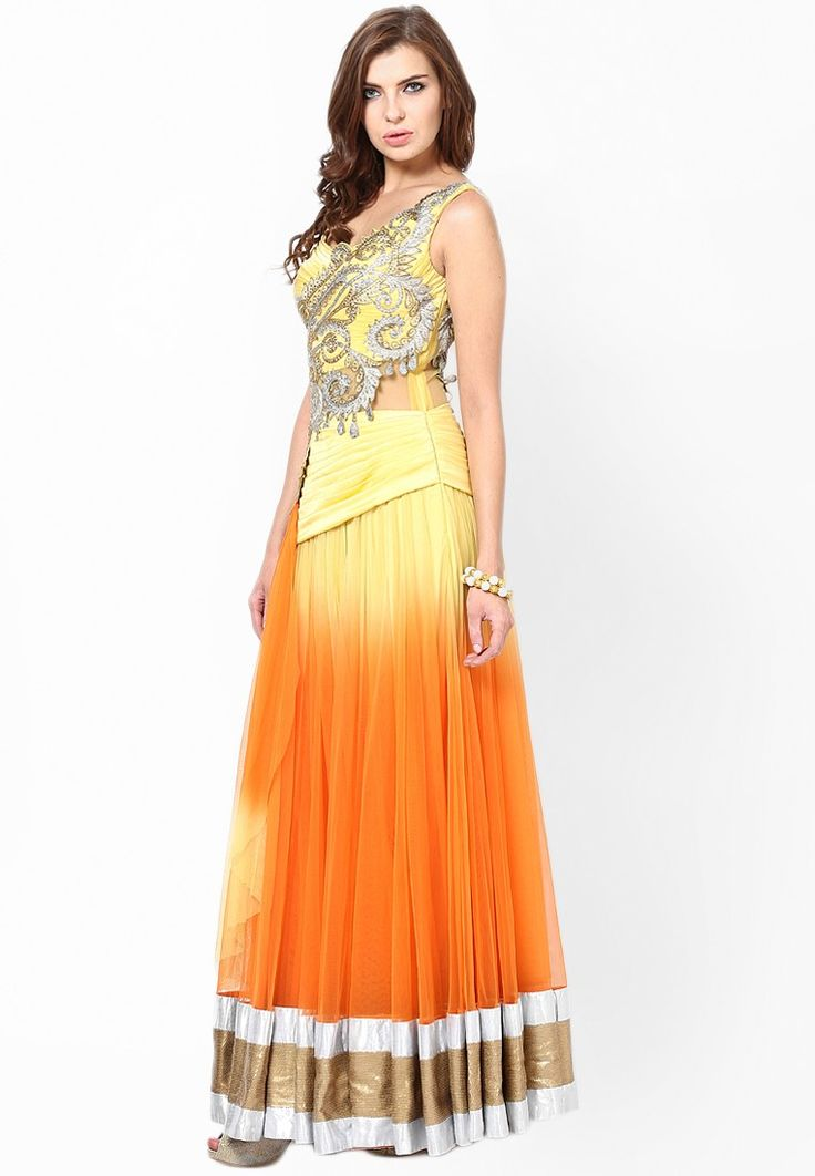 Yellow Embroidered Lehengas