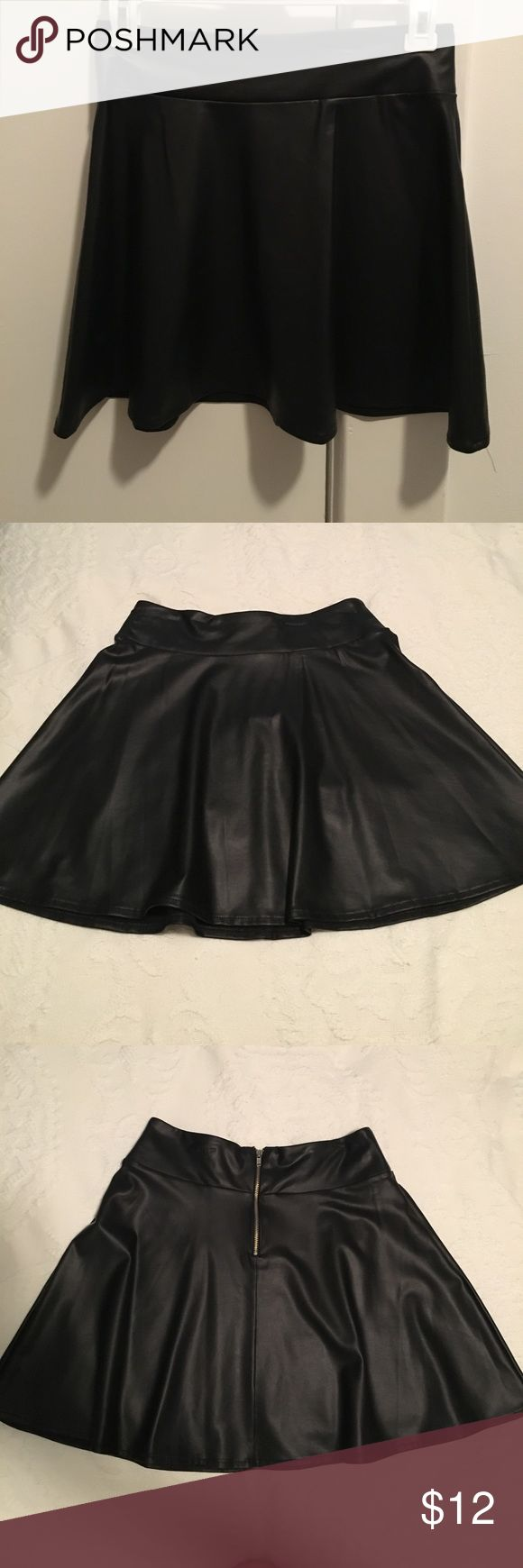 Black faux leather skater skirt Black faux leather skater skirt from forever 21. Good used condition! Forever 21 Skirts Circle & Skater