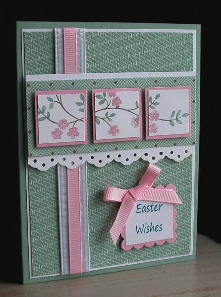 handmade Easter card ... Stamps: Thoughts & Prayers... By card crazy ... cherry blossom branch tiled on layered inchies on a panel ... luv the dusty green with pink and white accents ...