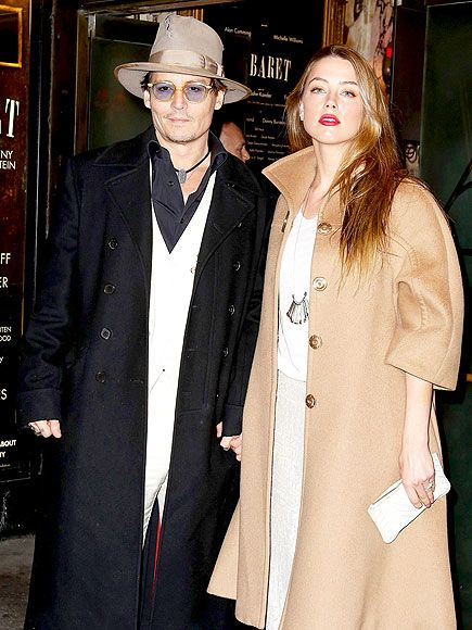 Johnny Depp, in translucent yellow frames with light blue tinted lenses, looked pleased to have his gorgeous fiancée by his side!: Amber Heard, New York Cities, Call Photo, April, Yellow Frames, Fiancé Amber, Blue Tint, Stars Track, Curtains Call